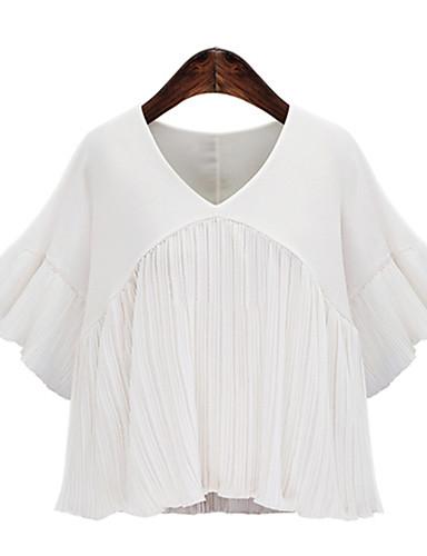 povoljno Ženske majice-Veći konfekcijski brojevi Bluza Žene - Boho / Elegantno Škola / Ulica Jednobojni V izrez Kolaž Obala