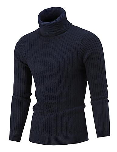 billige Herresweaters og cardigans-Herre Ensfarvet Langærmet Pullover, Rullekrave Navyblå / Grå / Vin US34 / UK34 / EU42 / US38 / UK38 / EU46 / US40 / UK40 / EU48