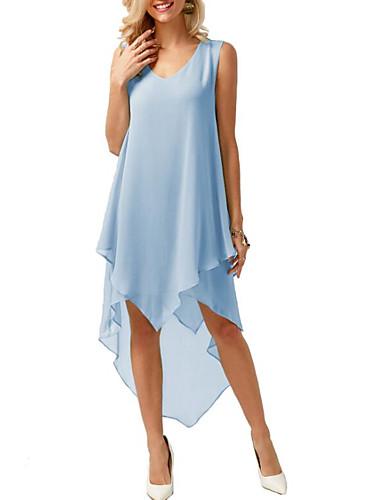cheap Women's Dresses-Women's Asymmetrical A Line Dress Ruffle Fashion Deep V Spring Black Blushing Pink Blue S M L XL