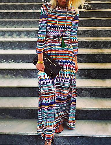 Kadın's Boho Sokak Şıklığı Salaş Kombinezon Elbise - Geometrik, Desen Maksi