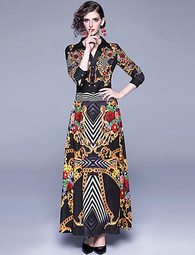 Kadın's Zarif Çan Elbise - Çizgili Çiçekli, Desen Maksi