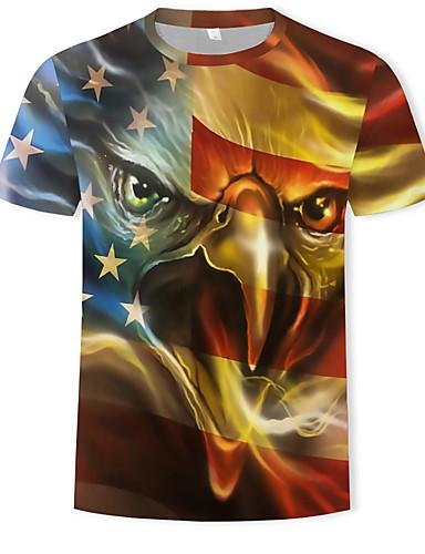 voordelige Heren T-shirts & tanktops-Heren Standaard Print T-shirt dier Ronde hals Geel / Korte mouw