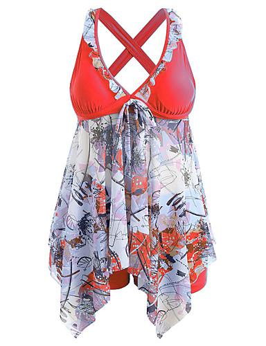 voordelige Nieuwe collectie-Dames Standaard Paars Rood blauw Bandeau Hoge taille Zwembroek Tankini Zwemkleding - Bloemen Print S M L Paars