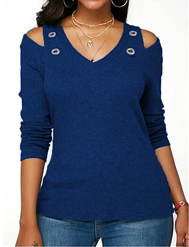 billige Topper til damer-V-hals Store størrelser T-skjorte Dame - Ensfarget, Nagle Grunnleggende Navyblå
