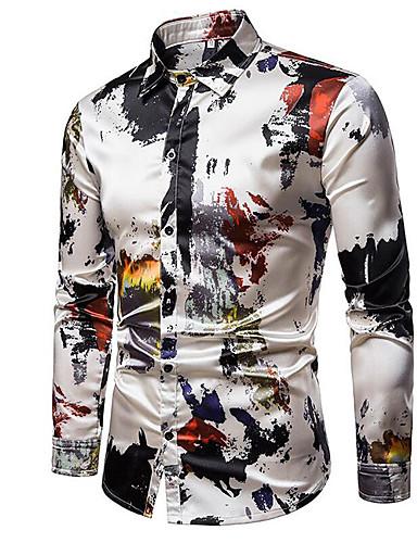 voordelige Herenoverhemden-Heren Rock / Punk & Gothic Overhemd Ruitjes / Grafisch Beige / Lange mouw