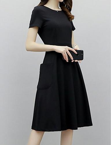 Kadın's Zarif Little Black Elbise - Solid, Kırk Yama Midi