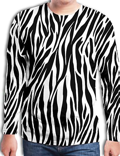 voordelige Heren T-shirts & tanktops-Heren Street chic / overdreven Geplooid / Print Tuniek Geometrisch / 3D / Blokken Zwart & Wit Zwart
