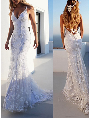 levne Svatební šaty-Mořská panna Do V Dlouhá vlečka Krajka Svatební šaty vyrobené na míru s Aplikace podle LAN TING Express