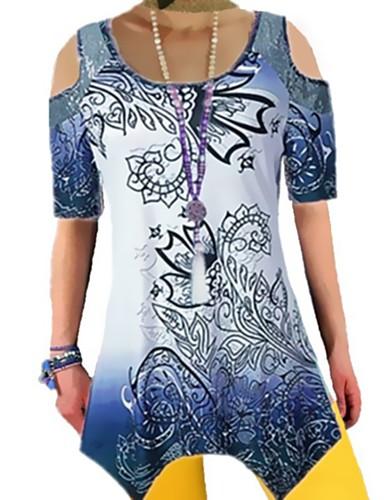 billige Dametopper-Løstsittende T-skjorte Dame - Geometrisk, Lapper / Trykt mønster Elegant BLå & Hvit Blå