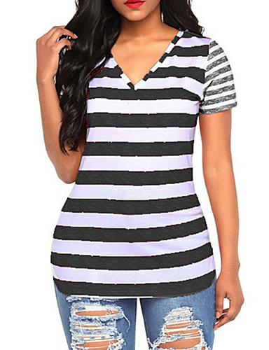 billige Dametopper-T-skjorte Dame - Stripet, Trykt mønster Grunnleggende Lilla