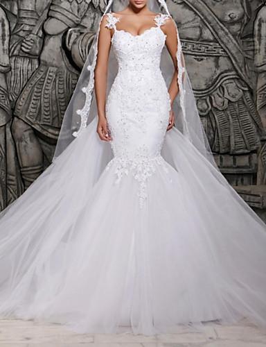 abordables robe mariage civil-Trompette / Sirène Coeur Traîne Brosse Dentelle / Tulle Robes de mariée sur mesure avec Dentelle par LAN TING Express