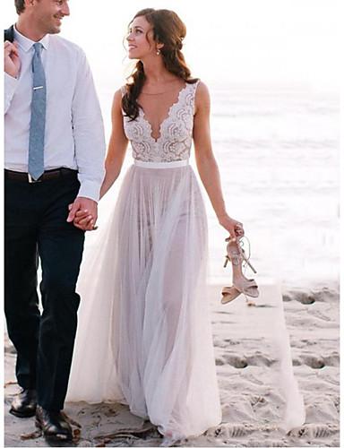 abordables robe mariage civil-Trapèze Bijoux Traîne Brosse Dentelle / Tulle Robes de mariée sur mesure avec par LAN TING Express