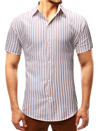 cheap Men's Shirts-Men's Daily Shirt - Striped Blue US42 / UK42 / EU50