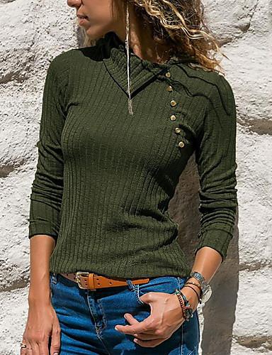 8d70051ec3b5cb tanie Topy damskie-Koszula Damskie Podstawowy Solidne kolory Czarny US2 /  UK6 / EU34