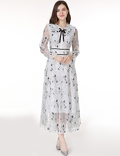 abordables Robes Femme-Femme Rétro Vintage Elégant Maxi Balançoire Robe - Dentelle Noeud Mosaïque, Fleur Blanche S M L Manches Longues