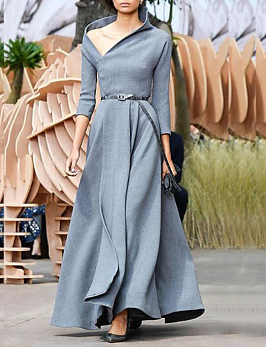 저렴한 여성 드레스-여성용 스트리트 쉬크 우아함 시프트 스윙 드레스 - 솔리드 맥시