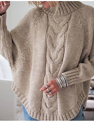 povoljno Ženske majice-Žene Jednobojni Dugih rukava Pullover, Dolčevita Crn / Blushing Pink / Bijela S / M / L