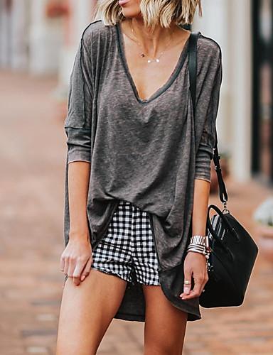 abordables Hauts pour Femme-Tee-shirt Femme, Couleur Pleine Noir