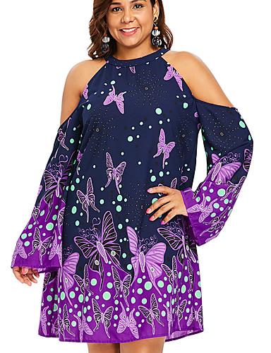 voordelige Grote maten jurken-Dames Standaard A-lijn Jurk - Bloemen, Patchwork Print Boven de knie