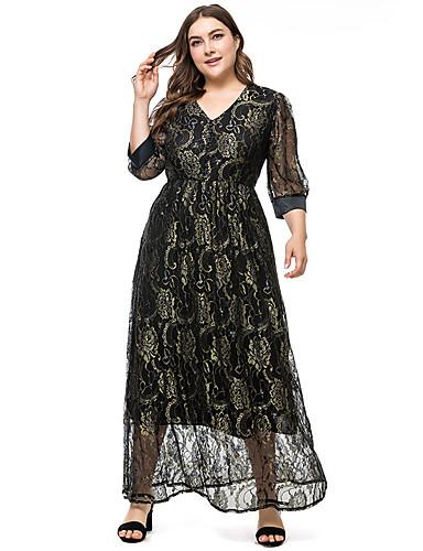 voordelige Grote maten jurken-Dames Standaard Elegant Schede Abaya Jurk - Effen, Kant Maxi