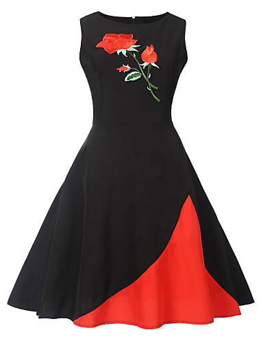 olcso Női ruhák-Női Vintage A-vonalú Ruha - Nyomtatott, Virágos Állat Térdig érő Rózsa