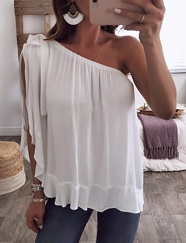 billige Topper til damer-Enskuldret T-skjorte Dame - Ensfarget Hvit