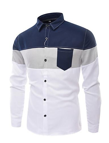 cheap Men's Shirts-Men's Casual Basic Shirt - Color Block Print Blue US36 / UK36 / EU44