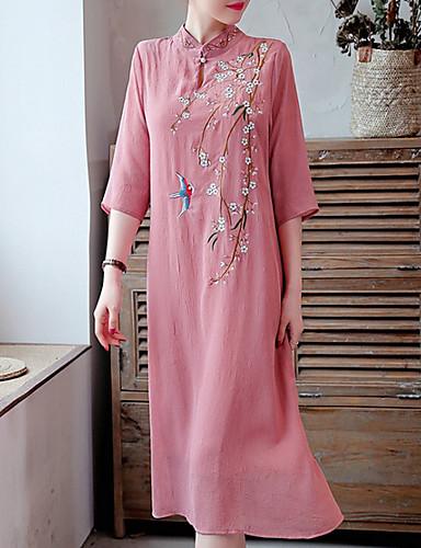 Kadın's A Şekilli Elbise - Çiçekli Midi