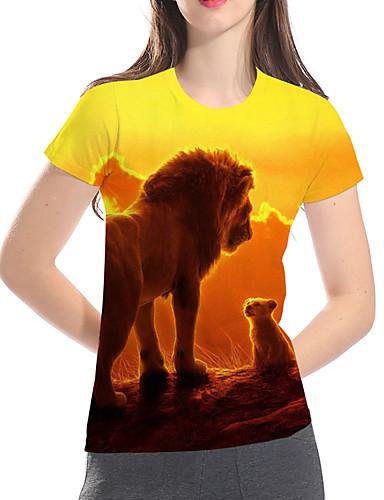 billige Topper til damer-T-skjorte Dame - Geometrisk / 3D / Dyr, Trykt mønster Grunnleggende / overdrevet Gul US14 / UK18 / EU46