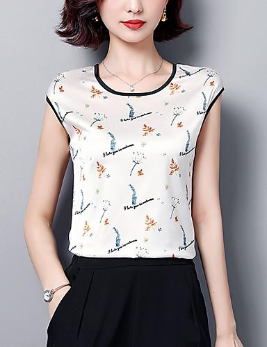 abordables Hauts pour Femme-Tee-shirt Grandes Tailles Femme, Fleur Imprimé Business / Basique Ample Noir