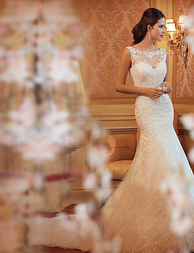 abordables Robes de Mariée 2019-Trompette / Sirène Bateau Traîne Tribunal Dentelle Robes de mariée sur mesure avec par LAN TING Express
