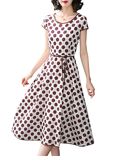 Kadın's A Şekilli Elbise - Yuvarlak Noktalı Diz-boyu
