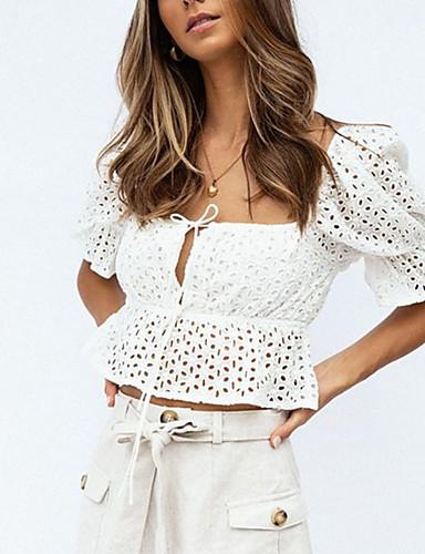 billige Topper til damer-Firkantet hals T-skjorte Dame - Blomstret Hvit