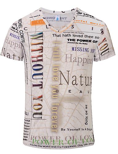 voordelige Heren T-shirts & tanktops-Heren EU / VS maat - T-shirt 3D V-hals Beige / Korte mouw
