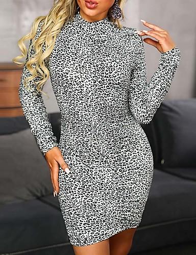 hesapli Seksi Elbiseler-Kadın's Temel Kılıf Elbise - Leopar Mini