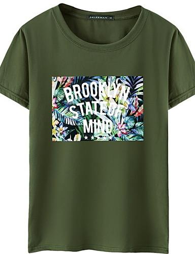 voordelige Heren T-shirts & tanktops-Heren EU / VS maat - T-shirt Letter / Fruit Ronde hals Grijs / Korte mouw