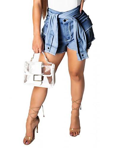 Kadın's Sokak Şıklığı Şortlar Pantolon - Solid Açık Mavi Beyaz Havuz S M L