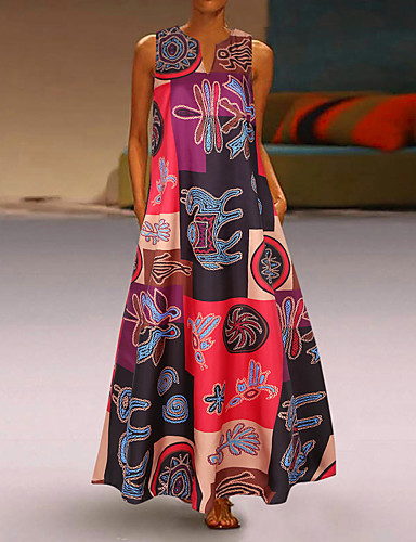 cheap Women's Dresses-Women's Plus Size Maxi Loose Swing Dress - Geometric Deep V Orange Red S M L XL