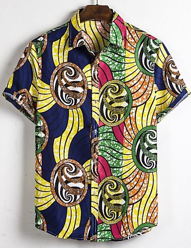voordelige Herenoverhemden-Heren Standaard / Boho Print EU / VS maat - Overhemd 3D / Tie Dye Geel / Korte mouw