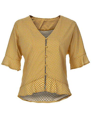 billige Dametopper-Skjorte Dame - Polkadotter, Drapering / Lapper Grunnleggende Ut på byen Gul