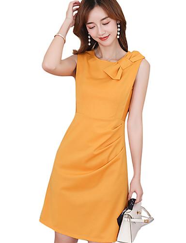 Kadın's A Şekilli Elbise - Solid Diz üstü