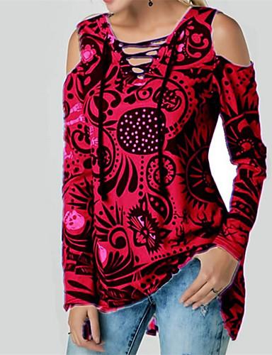 billige Topper til damer-Løstsittende V-hals T-skjorte Dame - Hodeskaller, Blondér Gatemote Svart & Rød / Svart og hvit Rød
