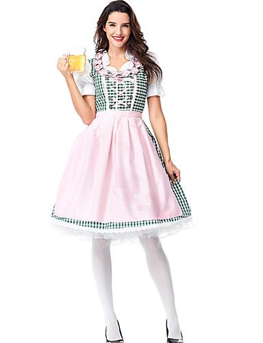 billige Halloween- og karnevalkostymer-Oktoberfest Drakter Dirndl Trachtenkleider Dame Kjole Forkle bayerske Kostume Rosa