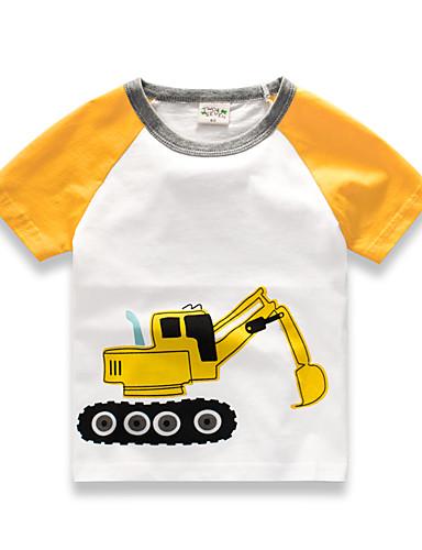 voordelige Uitverkoop-Kinderen Jongens Standaard Effen Print Korte mouw Katoen T-shirt Wit