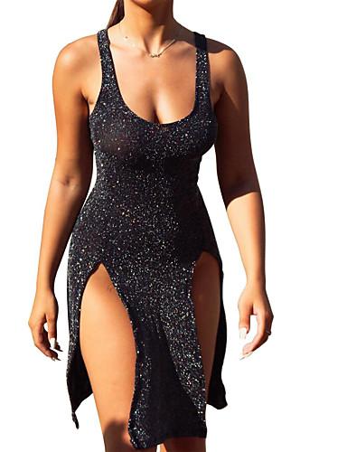 abordables Robes Femme-Femme Midi Noir Robe Couleur Pleine Noir L XL XXL Sans Manches