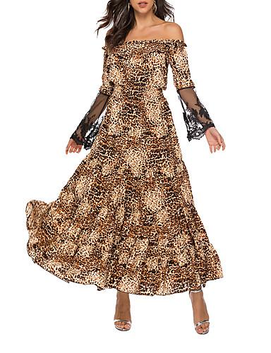 abordables Robes Femme-Femme Maxi Balançoire Robe Animal Chameau M L XL Manches Longues