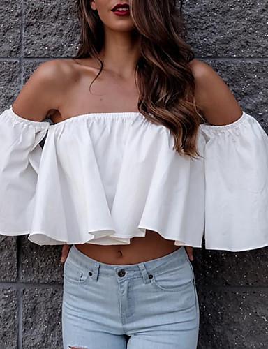 abordables Hauts pour Femme-Tee-shirt Femme, Couleur Pleine - Coton A Volants / Mosaïque Chic de Rue Epaules Dénudées / Drapé Blanche