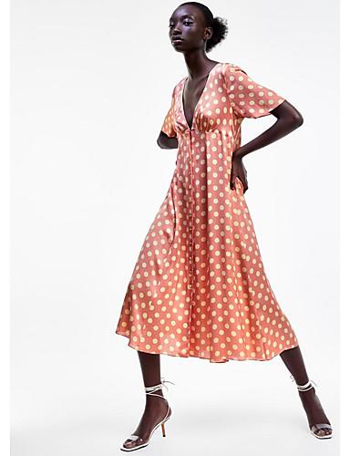 Kadın's Çan Elbise - Yuvarlak Noktalı Midi