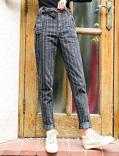 billige Tights til damer-Dame Grunnleggende / Sofistikert Chinos Bukser - Stripet Blå, Stripe Blå M L XL