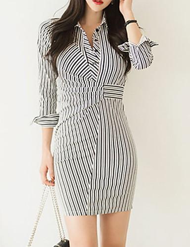 Kadın's Kılıf Elbise - Çizgili Mini